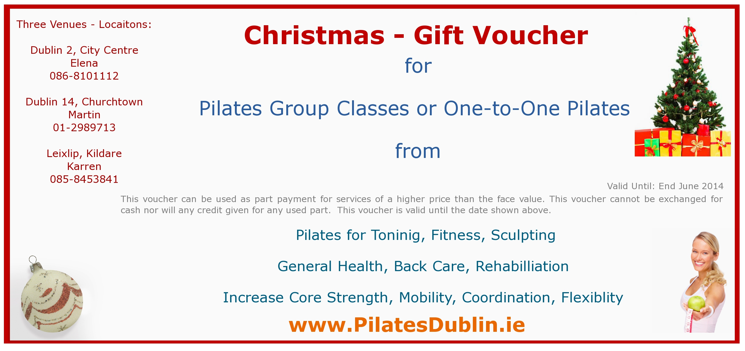 Christmas Gift Vouchers now available for our Dublin based Pilates ...