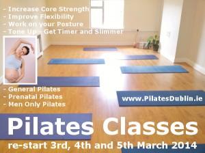 March April 2014 Pilates Classes in South Dublin Ireland, 28 South William Street Dublin 2, Churchtown Dublin 14/16, Leixlip - Ardlough