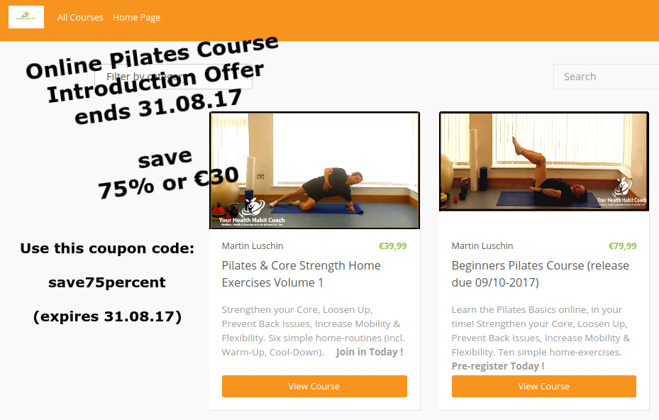 Online Pilates Course * Special Offer* September 2017